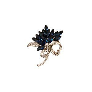 Jewelry - Silver Plated Blue & Crystal Floral Brooch Pin